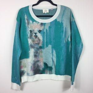 Anthropologie Farm Animal Sweater Llama Teal M